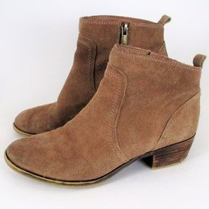Lucky Brand 7 Tan Suede Low Ankle Booties Zip Up